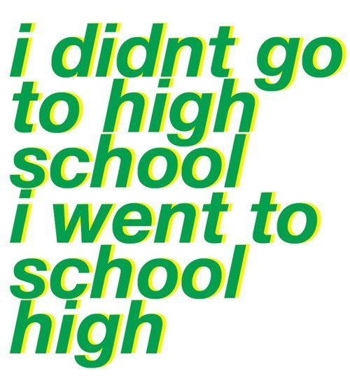 I didn't go to high school. I went to school high